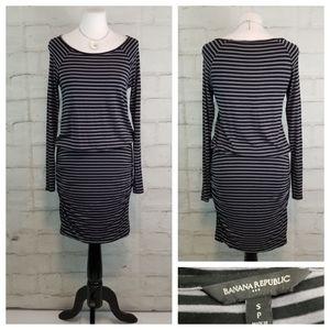Banana Republic Drop Waist Long Sleeve Midi Dress